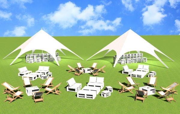 Aranżacja na 50 osób z namiotami i barem